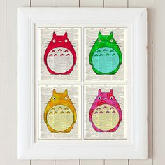 Set of 4 Pop Art Colorful Season of Totoro Matching Prints Unframed on Antique Bookpaper, via Etsy.