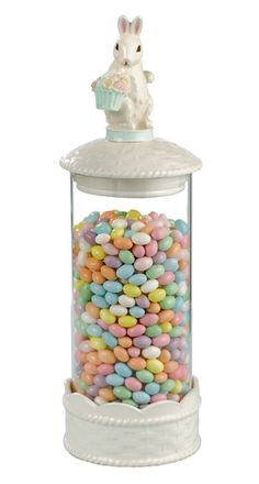 Easter Bunny jelly bean canister - follow these instructions except add an easter figurine on top http://pinterest.com/pin/93801604708801816/
