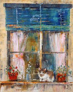 """Tableau """"Petit chat à la fenêtre"""" - peintures-axelle-bosler : Peintures par peintures-axelle-bosler"""