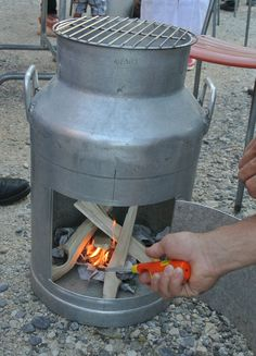 Old milk canister turned into an outdoor pit.