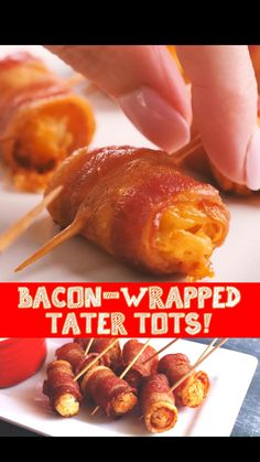 Bacon Appetizers, Appetizer Recipes, Snack Recipes, Cooking Recipes, Fun Baking Recipes, Side Salad Recipes, Finger Food Appetizers, Bacon Wrapped Tater Tots, Tater Tot Recipes