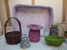 Canasta y cestas en papel periodico