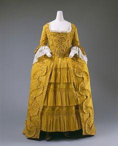 Dress (image 1) | British | 1760 | silk, linen, cotton | Metropolitan Museum of Art | Accession Number: 1996.374a–c