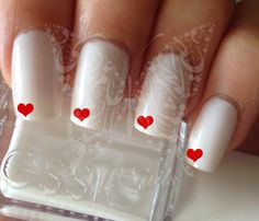 Nail Art Mini Red Hearts Nail Water Decals Transfers Wraps