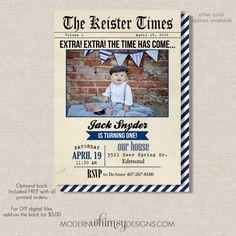 Vintage Newspaper invitation birthday by ModernWhimsyDesign, $16.00