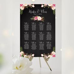 Wedding Seating Chart  By Table  Various Sizes  Bella