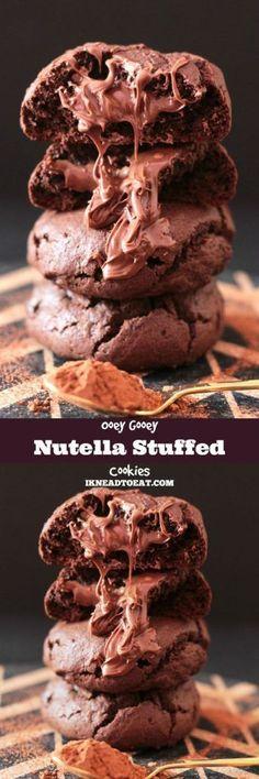 Ooey Gooey Nutella Stuffed Chocolate Cookies