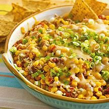 Sweet, crunchy corn adds texture and flavor to refrigerated salsa. This Hot Fiesta Dip is best served with baked tortilla chips. #WWLoves #recipe