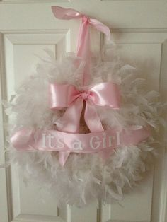 feather wreath- it's a Girl. $32.00, via Etsy.