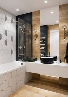 ideas bathroom tiles hexagon decor for 2019 New Bathroom Designs, New Bathroom Ideas, Bathroom Design Small, Bathroom Layout, Bathroom Wall Decor, Bathroom Interior Design, Home Interior, Bathroom Inspiration, Modern Bathroom