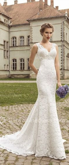Lace Mermaid Wedding Dresses 2015 Simple Bridal Gowns-SR.....with long sleeves???