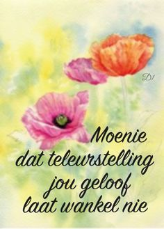 Moenie dat teleurstelling jou geloof laat wankel nie #Afrikaans #Don't #Heartaches&Hardships #faith Inspirational Qoutes, Afrikaans Quotes, Wisdom Quotes, Gods Love, Tart, Things To Think About, Give It To Me, Wings, Gardens