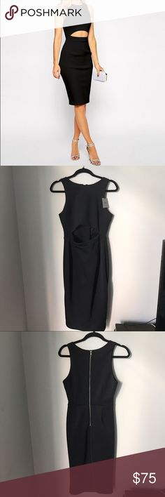 ASOS Black dress NWT. Black dress with cutout in front. Exposed zipper in back ASOS Dresses Midi