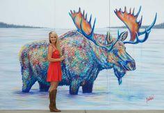 Teshia art contemporary colorful wildlife paintings and animal art prints - moose in lake Wildlife Paintings, Wildlife Art, Buffalo Painting, Geometric Artists, Colorful Paintings, Art Paintings, Lion Painting, Animal Art Prints, Cow Art