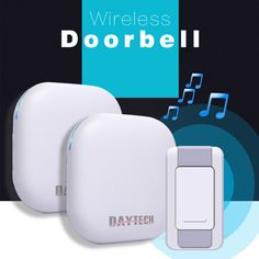 DAYTECH Wireless DoorBell Ring Waterproof IP55 36 Chimes ring Home Security Door Bell Kit 2 Plugin Receivers 1 Push Button