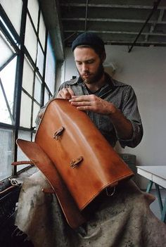 I founded ETWAS in mostly as a reaction to what bothered me in the design industry coming out of school, and thinking about what a career as a designer looked like.// Pinned by Ellen Rus. Leather Carving, Leather Tooling, Leather Bags Handmade, Leather Craft, Vintage Leather, Leather Men, Crea Cuir, Leather Workshop, Leather Duffle Bag
