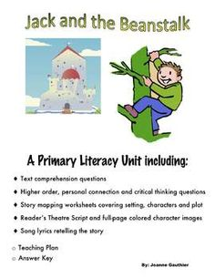 This Jack and the Beanstalk unit will build reading comprehension skills while allowing the students to have fun with literacy. A range of activities, including drama and singing, are provided to help you cater to the different needs in your classroom.