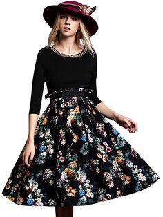 Rhinestone O Neck Floral Woman Pleated Dress