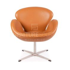 Arne Jacobsen Style Swan Chair - Tan Full Italian Leather , Chair - FSWorldwide, FSWorldwide  - 1