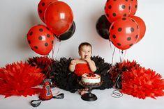 Ladybug Smash Cakes, Cake Smash, Black Balloons, Latex Balloons, Ladybug 1st Birthdays, First Birthdays, First Birthday Parties, Birthday Party Decorations, Birthday Ideas