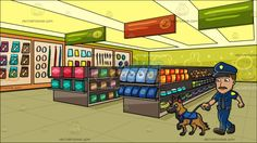 A Police Officer Walking His Dog At Inside A Pet Store :  A man with brown hair and mustache wearing a blue police officer uniform cap with black brim and gold badge dark gray necktie utility belt and black shoes walks his German Shepherd dog with golden brown and dark gray fur his right hand holds the dark gray leash attached to the dog. Set in inside a pet shop with pale brown shelves that displays multiple items in individual colored packages paneled yellow ceiling green and orange aisle…
