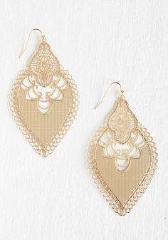 I Dreamed a Gleam Earrings. Illuminate your look with an ethereal glow each time you wear these gold earrings.  #modcloth