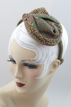 vintage paisley and Harris tweed headpiece