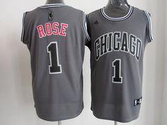 Men's NBA Chicago Bulls #1 Derrick Rose Grey Jersey