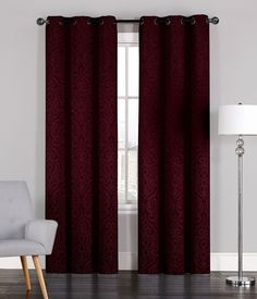 Pair of Adelaide Crinkled Window Curtain Panels w/Grommets Corner Furniture, Curtains Living Room, Maroon Curtains, Panel Curtains, Curtains, Room Decor, Burgundy Curtains, Burgundy Living Room, Bright Furniture