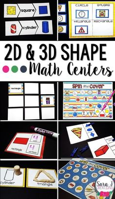 7 math centers to make teaching 2D and 3D shapes easier. Perfect for kindergarten, first grade and second grade.