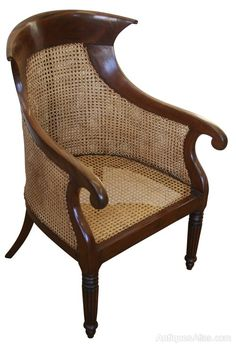 A Regency Mahogany Bergère/ Library Chair - Antiques Atlas