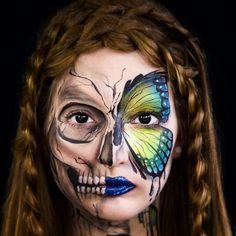 half-face face paint / Halloween makeup: skull vs. butterfly | by Elsa Rhae @elsarhae