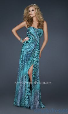 Dress, Long Strapless Blue Print Gown - Simply Dresses