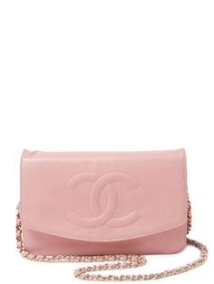 Light Pink Caviar CC Envelope Wallet On Chain  from Parisienne Chic: Vintage Accessories on Gilt