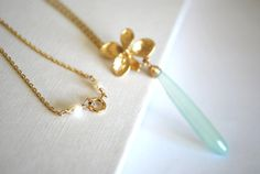 Sea green Chalcedony gold Orchid Summer Dream by ChaninBijoux, $64.00