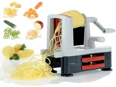 Groentesnijder Spiromat € 44,95 Deze groentesnijder 'Spiromat' snijdt groenten en fruit in allerlei spiraalvormen. De 3 scherpe mesbladen bieden variëteit, en de bladen die niet in gebruik zijn worden compact opgeborgen onderin de snijder.