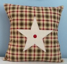 Country pillow cover Farmhouse pillow Red & by sterlingstitchery