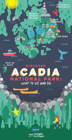 Can't wait for our trip to Acadia this summer! Find out where to sleep and eat, what to do and the best times to visit Acadia National Park with our handy vacation guide. Make it a getaway you'll never forget. Maine Road Trip, East Coast Road Trip, Road Trips, Camping In Maine, Road Trip Map, East Coast Travel, Field Trips, New Hampshire, Nationalparks Usa