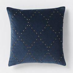 Studded Velvet Ogee Pillow Cover - Regal Blue