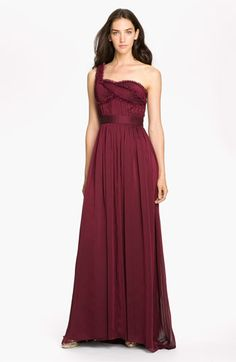 Adrianna Papell Embellished One Shoulder Pleated Chiffon Gown | Nordstrom -- would love this colour for bridesmaids dresses