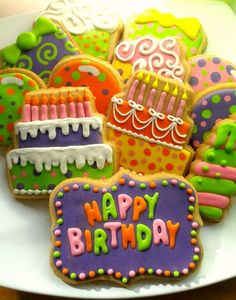 September Special : Best Happy Birthday Wishes Pictures - Latest Collection of Happy Birthday Wishes Happy Birthday Cookie, Birthday Cookies, Birthday Wishes, Iced Sugar Cookies, Royal Icing Cookies, Fancy Cookies, Cute Cookies, Cupcakes, Cupcake Cookies