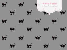 Black Cat Pattern { Gray }  http://prettypoodle.blogspot.jp/2010/10/black-cat.html
