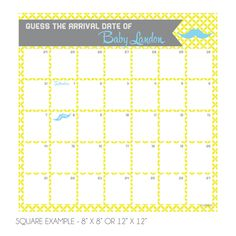 Hipster Mustache Due Date Calendar by KateOGroup | Guess the Due Date Shower Sign in #KateOGroup #BabyShower