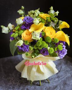 Un buchet de 5 cale galbene, 6 trandafiri galbeni, 5 santini verde, 7 lisianthus mov, verdeață.  Livrare in Bucuresti si in alte orase ale tarii.