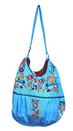 578a01aaa11d Del Mex Hand Embroidered Mexican Purse Handbag Tote Turquoise     Visit the  image link