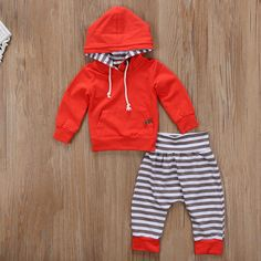 pudcoco Newest Arrivals Hot Babies Newborn Infant Boy Girl Clothes Casual Stripe Hooded T shirt Tops. Click visit to buy #BabyGirlClothingSet #BabyGirl #ClothingSet