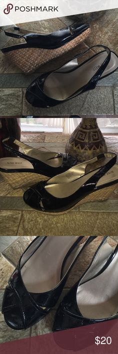 "Nine West Patent Leather Platform Cork Wedge Features: 3"" heel, slight damage with cork on wedge however still in great condition. Priced accordingly. Nine West Shoes Wedges"