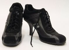 $26.99 SOMETHING ELSE FROM SKECHERS Black Lace Up Gym Shoe Heels Size 8 460457 #Skechers #Fashionshoe #Casual