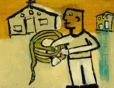 Snake Handler Outsider T Marie Nolan Raw Folk Art Brut Original Painting | eBay