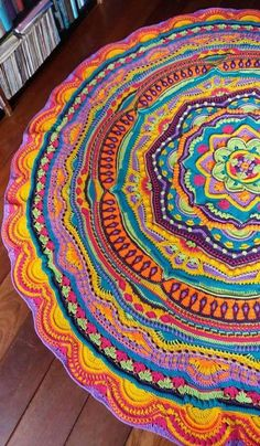 You Will Be Obsessed With This Incredibly Gorgeous Crochet Mandala Blanket Pattern Crochet Pattern Free, Crochet Diy, Unique Crochet, Crochet Round, Crochet Home, Crochet Blanket Patterns, Knitting Patterns, Motif Mandala Crochet, Mandala Blanket